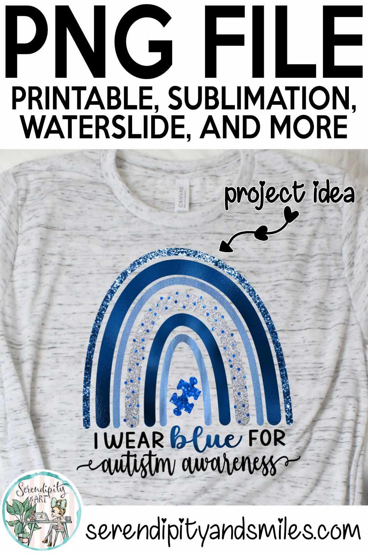 I Wear Blue For Autism Awareness Boho Rainbow - PNG Design