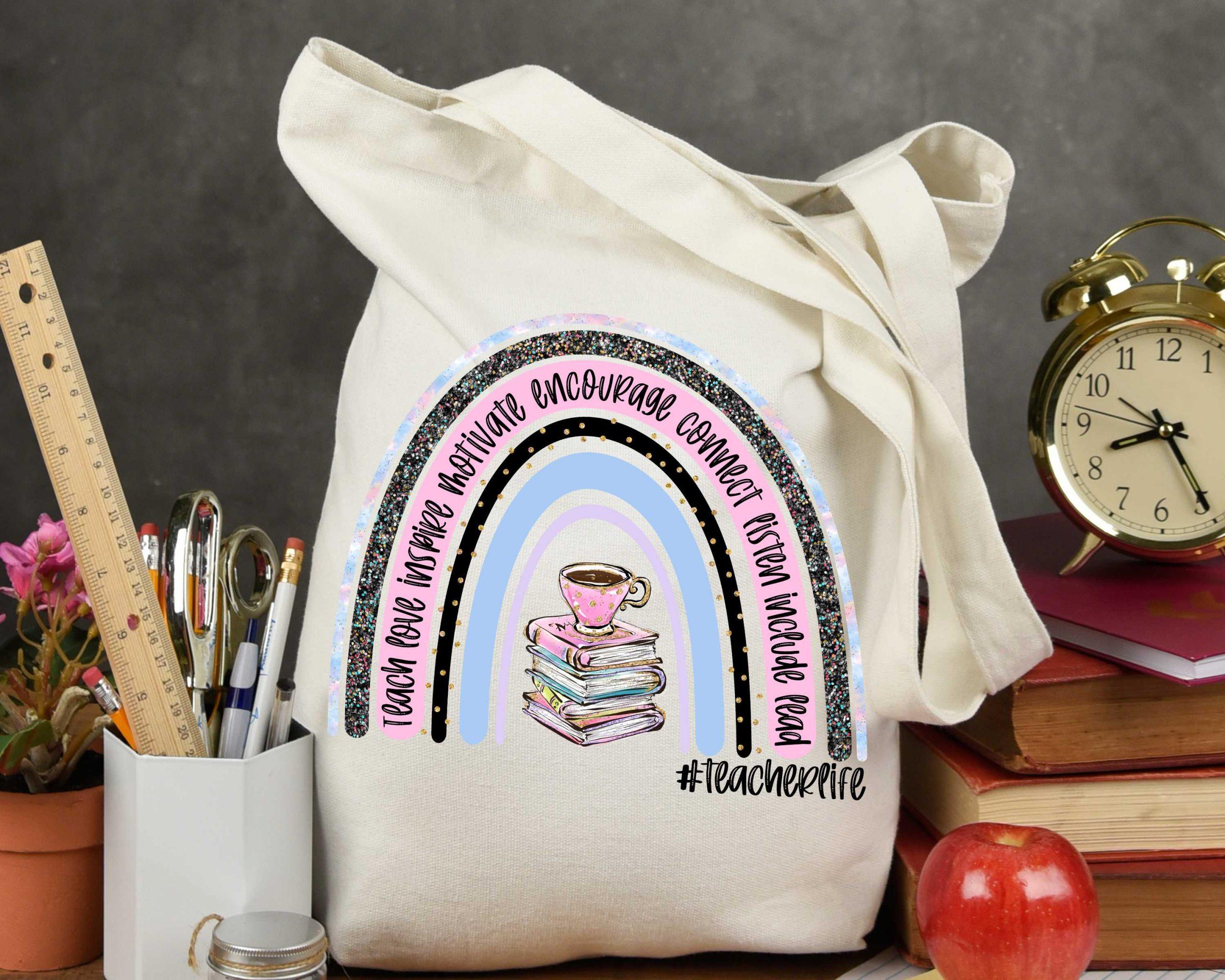Teacher Life Books Rainbow Mockup 1