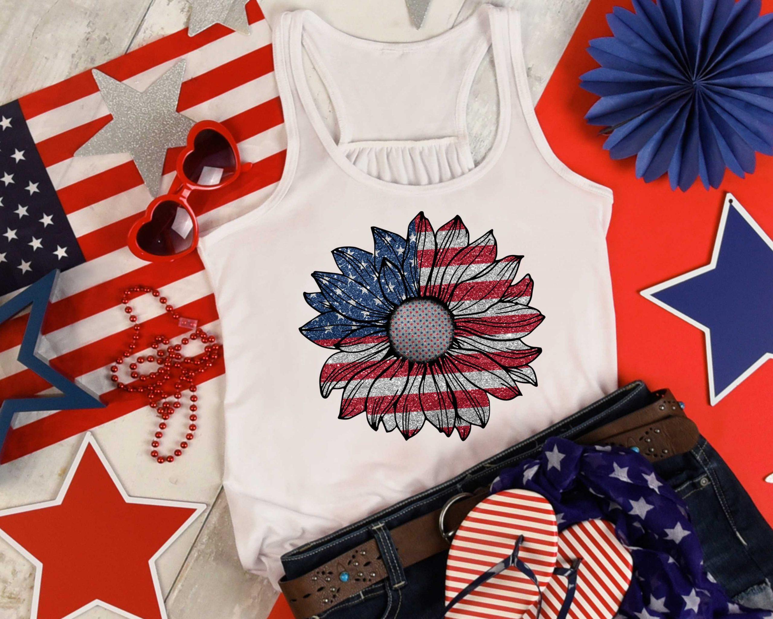 USA Glitter Sunflower Mockup 2