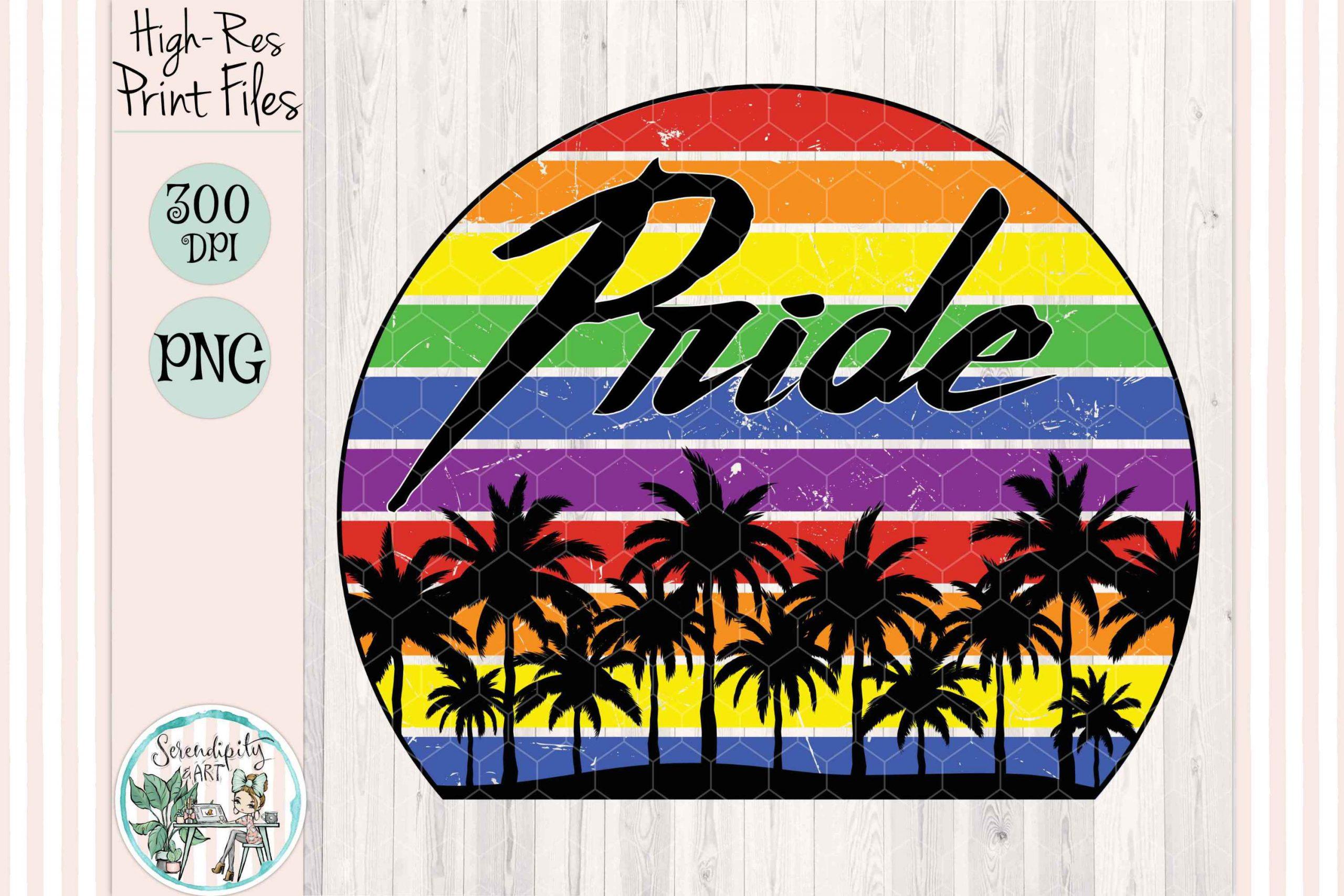 Pride Retro Grunge Sunset Mockup cf